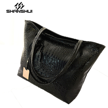 SHANSHUI factory direct 2017 autumn new shoulder bag crocodile pattern fashion large capacity leisure shopping bag ladies bag
