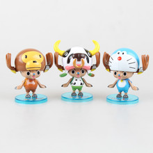 new 8cm  One Piece  POP  Figuarts ZERO One Piece Chopper cos play Cat Doraemon cows   action figure toys Wholesale