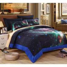 3D Galaxy Bedding Set king/queen/full size bedding sets 4pcs Bed set space bedding set Linens quilt /bed sheets / pillow cases E(China)