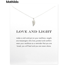 Love And Light Angel Wing Necklace Silver Plated  Pendant Necklace Clavicle Chain Statement Necklace Women Jewelry T0274