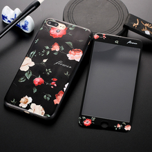 China Retro Flowers For iPhone 6 6S 7 Plus Case Luxury Soft TPU IMD Phone Cases Covers With Tempered Glass Film Capa Coque