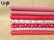 Urijk 7PCs/set 25*25cm Red DIY Patchwork Fabrics For Sewing The Cloth Baby Quilting Cotton For Needlework Kids Bedding Textile