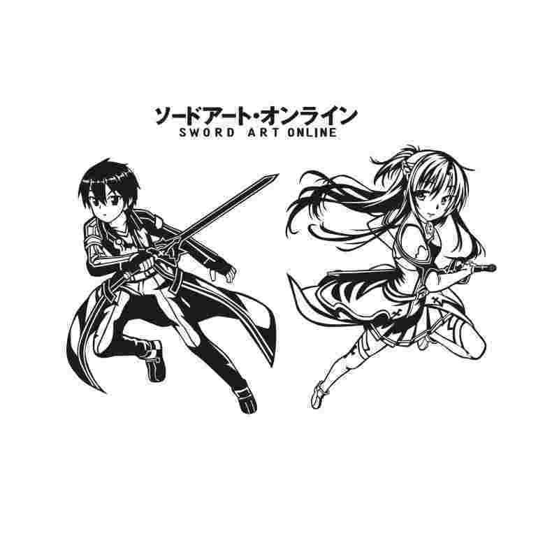Pegatina Sword Art Online Sticker Anime Cartoon Kirito Car Decal Sticker Vinyl Wall Stickers  Decor Home Decoration