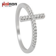 Trend Sideways Cross silver plated rings Fashion Jewelry drop shipping crystal vintage wedding ring for women(China)
