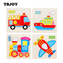 1 Pc Kids 3D Wooden Cartoon Traffic Animal Puzzle Kawaii Toys for Children Montessori Educational Early Learning Jigsaw Baby Toy