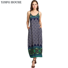 YJSFG HOUSE Women Summer Vintage Sleeveless Boho Beach Dress Floral Print Long Maxi Dresses Ladies Spaghetti Strap Robe Femme