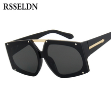 RSSELDN Oversized One Piece Lens Sunglasses Women Brand Gradient Lens Pink Black Sun Glasses Men Vintage Style Sunglass UV400(China)