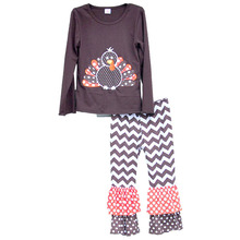 Children Clothing Set Thanksgiving Holiday Gobble Costume Turkey Sticker Pullover Striped Pants Fashion Girls Outfits T004(China)