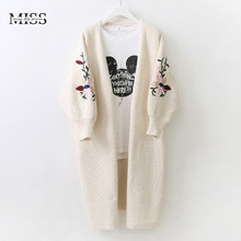 MISSFEBPLUM New Women Cardigan 2017 Autumn Winter Floral Embroidery Lantern Sleeve Casual Poncho Cardigans Feminino Knit Sweater