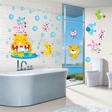 Cartoon Animal Tooth Brushing PVC DIY Removable Wall Sticker Kids Room Nursery Wall Decal Wallpaper Sea World Free Shipping(China)