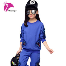 Kids Sets Cotton Character Sports Girls Set Clothing Girl Casual Shirts+Pants 2 Pieces Tracksuit Children Kids Sets Autumn Hot(China)