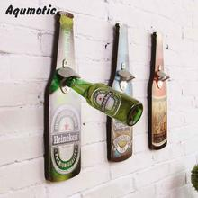 Aqumotic Beer Sign Wooden Decoration Beer Bottle Opener Dual Family Decorates Bar Retro Restaurant Decor Multifunction Tool