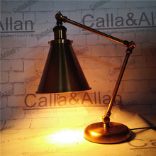 Free shipping antique vintage movie desk lamp bronze iron base study lights old fashioned lighting hotel decoration beside lamp