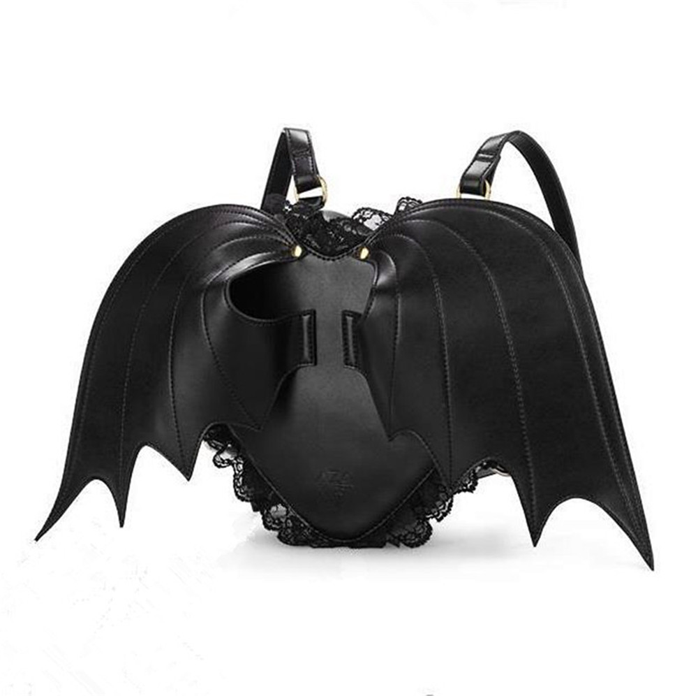 2016 New Lovely Black Bat Wings Angel School Backpack For Women Teenage Girl Backpack Ladies Mochila Feminina Devil Punk Stylish