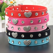 Bling Rhinestone Crystal Leather Pet Dog Cat Collars Adjustable Collar with Pendant(China)