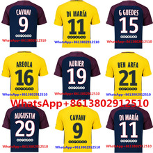 adult T-shirt 2017 PSG Thai AAA Top quality football jerseys Qualit Men Soccer jersey 17 18 Home blue Away red 3RD white shirt(China)