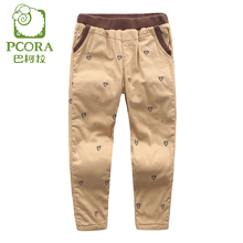 PCORA Kids Girls Pants Winter Thick Trousers Elastic Waist Khaki Pants for 3T~10T Teenagers Children Clothes Warm Pants for Girl(China)