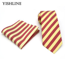 T194 Mens Ties 8CM Yellow Red Striped Tie Hanky Set Men's Business Wedding Party Jacquard Woven 100% Silk Necktie Handkerchief(China)