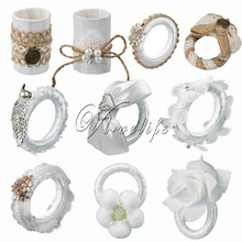 5PCS Top Quality Wedding Napkin Ring With Lace Flower Burlap Table Rings For Serviette Holder Wedding Dinner Xmas Supplies