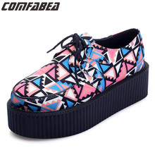Size 35, 39 Spring Autumn Flat Platform Shoes Ladies Printed Casual Shoes Creepers Platform HARAJUKU Shoes For Woman(China)