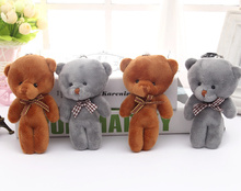 Kawaii 2Colors - Wedding Bowtie Bear Stuffed Toy Doll , 9CM IN 2Colors - Stuffed Animal Bear Plush TOY DOLL with keychain(China)