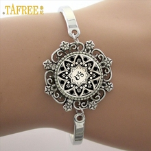TAFREE Brand Yoga Picture Glass Cabochon Dome Lace Flower Charm Bracelet Women's Love Christmas Gift Good Quality Cuff Bangles(China)