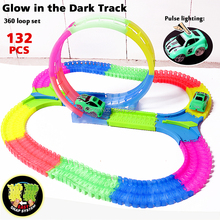 Spinning DIY Glow race track 360 Degree Stunt Loop Glow in the Dark Flexible Assembly Electric Car Track with Light-Up Race Car(China)