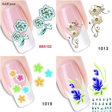 AddFavor 6Sheets Fingernail Sticker Green Blue Colorful Flower Nail Art Decoration Decals Makeup Tools Custom Foil Manicure