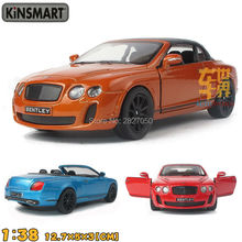 Kinsmart 2010 Bentley Continental Supersports Convertible 1:38 5Inch Diecast Metal Alloy Cars Toy Pull Back Car Gift For Kids