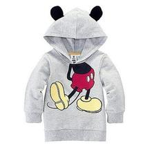 Hot New Baby Girl Clothes Cartoon 2017 Design Cotton Hoodies With Ears Sweatshirt Kids Baby Boy Clothes Mickey Mouse Hoodies