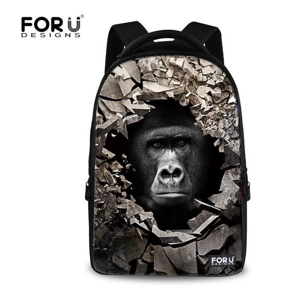 Fashion Mens Travel Backpack 15.6 inch Children School Backpacks,Black 3D Animal Monkey Printing Notebook Computer Backpack<br><br>Aliexpress