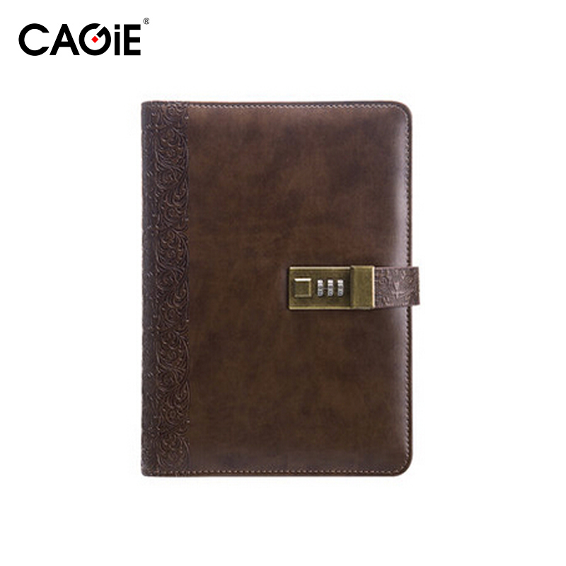 CAGIE A5 Leather Notebook Vintage Diary With Lock Office Planner Agenda School Binder Day Planners Travel Notebooks and Journals(China)