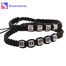 Buy 1Pair Braided Rope Bracelets KING QUEEN Letter Alloy Bracelets & Bangles Black Woven Rope Wristband Couple Fashion Jewelry Gifts for $1.05 in AliExpress store