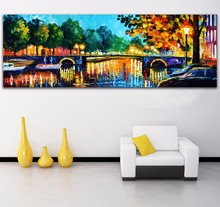 Palette Knife Painting Amsterdam - Early Morning Scene Picture Printed On Canvas For Home Office Wall Art Decor