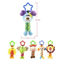 Happy Animal Baby bed Car hanging Rattle Stick Stuffed Plush Doll Toy Puzzle Bell Ring Infant Animal Toys