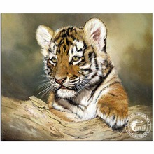 5D Diamond Embroidery Mosaic Tiger Cub Animals Cross Stitch Round Drill Diamond Painting Wall Stickers Room Decoration Paintings(China)