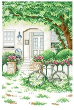 Embroidery Package Hot Sell Best Quality Cross Stitch Kits My House Gate Tree Flower Bike Free Shipping(China)
