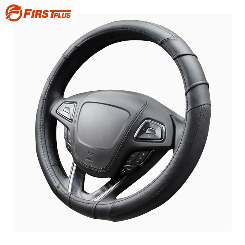 Genuine Leather Car Steering Wheel Cover Summer Breathable Covers BMW Nissan Hyundai Kia Ford Focus VW Black Sport Styling