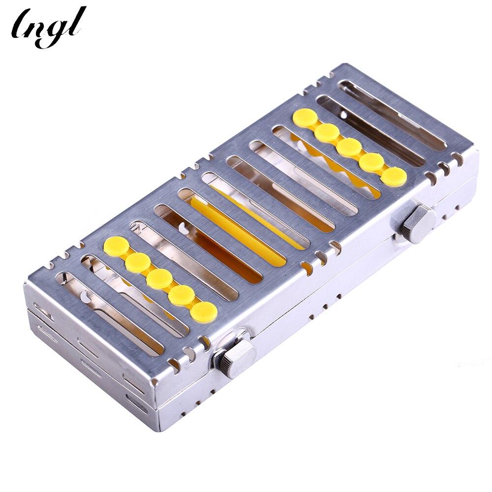 Surgical Autoclavable Sterilization Dental Cassette File Bur Rack Tray Yellow S S<br>