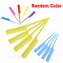 High quality 1pc  colorful heat resistance plastic Fine-tooth cosmetic comb combing hair easy use anti static