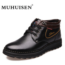 MUHUISEN Brand Winter Men Genuine Leather Shoes Fashion Warm Working Plush Ankle Boots Casual Lace Flats Male Snow Boots