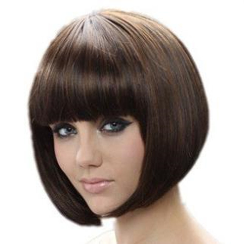 Fashion New Womens Ladies Short Straight Full Bangs BOBO Hair Cosplay Wig best quality Celebrity Synthetic Bob Wigs<br><br>Aliexpress