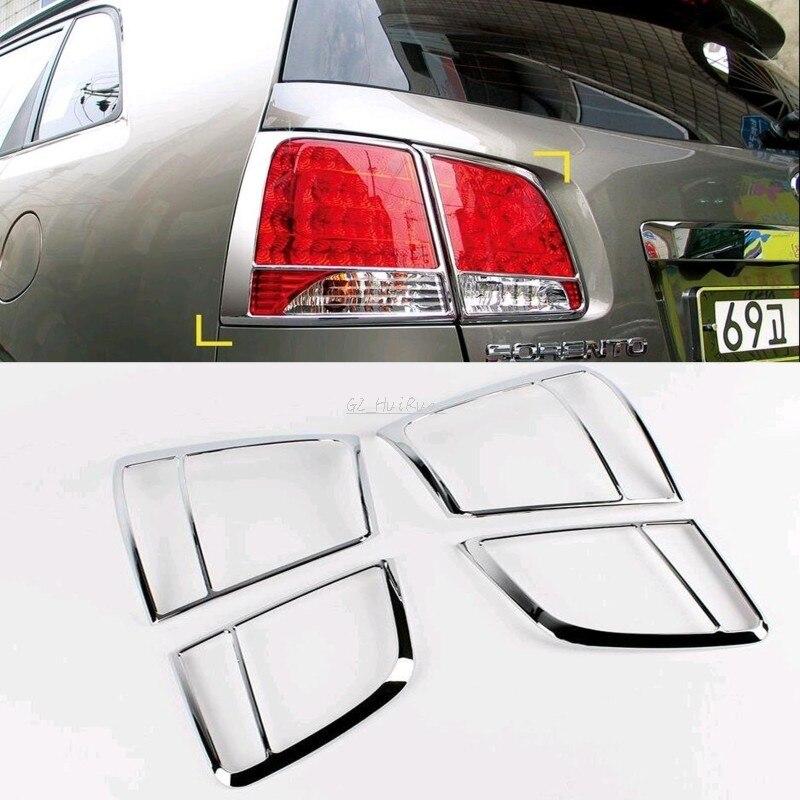 For Kia Sorento 2010 2011 Chrome Car Rear Tail Light Lamp Cover Frame Trim 4pcs/Set<br>