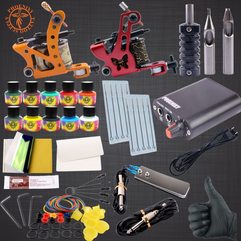 Completed Tattoo Kit 2 Tattoo Machine Set 10 Colors Inks Pigment Induction for Beginner Body Tattoo Art  <br>