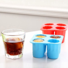 WCIC 4-Cups Square Ice Cube Shot Glass Tray Silicone Mold Cool Shooters Jello Mould Red/Blue/White(China)
