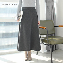 Autumn Fashion Thickening Long Pleated Skirt Women's Ankle-length Elastic Waist Winter Skirts For Girls