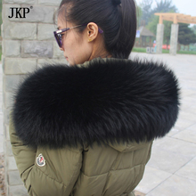 Big Size Natural Real Black Raccoon Fur Collar Scarf For Women Winter Coat Cap Warm Genuine Fur Collar Scarves 70cm 75cm 80cm(China)