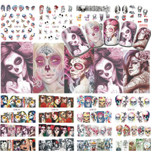 24 Design Halloween Watermark Nail Transfer Sticker Mixed Color DIY Art Decoration Manicure Tip TRBN181-204
