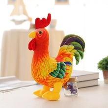 Standing Position 3D Simulation 2017 Chinese New Year Mascot 20cm 38cm Colorful Cock Plush Toy Children Christmas Gift 1pcs