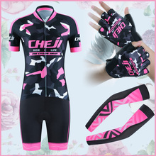 New Arrival Cheji Cycling Kits Women Best Matched Cycle Clothing Sets Gloves Arm Warmer Pro Cycling Wears Summer Bike Clothes(China)